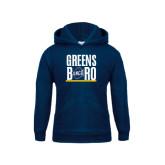 Youth Navy Fleece Hood-Greensboro Stacked with Shield