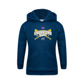 Youth Navy Fleece Hoodie-Baseball SoCon Champions 2017 - Crossed Sticks
