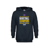 Youth Navy Fleece Hoodie-2017 SoCon Regular Season Basketball Champions - Stacked