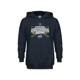 Youth Navy Fleece Hoodie-2017 SoCon Regular Season Softball Champions - Crossed Bats