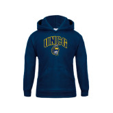 Youth Navy Fleece Hoodie-Arched UNCG w/Spartan
