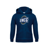 Youth Navy Fleece Hood-UNCG Shield