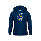 Youth Navy Fleece Hood-Spartan Head