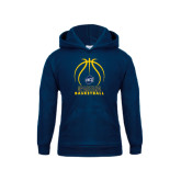 Youth Navy Fleece Hood-Stacked Basketball
