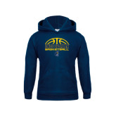 Youth Navy Fleece Hood-Arched Basketball Design