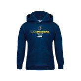 Youth Navy Fleece Hoodie-Basketball Net Design