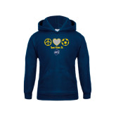 Youth Navy Fleece Hoodie-Just Kick It