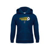 Youth Navy Fleece Hood-Soccer Ball Design