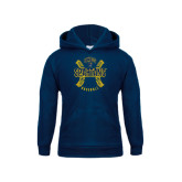 Youth Navy Fleece Hoodie-Basball Ball Design