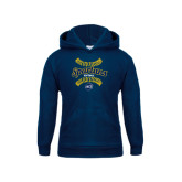 Youth Navy Fleece Hoodie-Softball Ball Design
