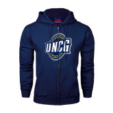 Navy Fleece Full Zip Hoodie-UNCG Shield