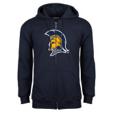Navy Fleece Full Zip Hoodie-Spartan Logo