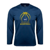 Syntrel Performance Navy Longsleeve Shirt-Stacked Basketball