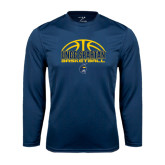 Performance Navy Longsleeve Shirt-Arched Basketball Design