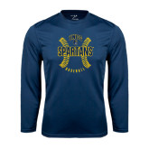 Performance Navy Longsleeve Shirt-Basball Ball Design