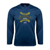 Performance Navy Longsleeve Shirt-Softball Ball Design