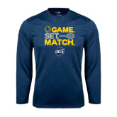 Performance Navy Longsleeve Shirt-Game Set Match - Tennis Design