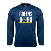 Performance Navy Longsleeve Shirt-Greensboro Stacked with Shield