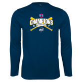 Performance Navy Longsleeve Shirt-Baseball SoCon Champions 2017 - Crossed Sticks