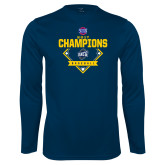 Performance Navy Longsleeve Shirt-Baseball SoCon Champions 2017 - Diamond