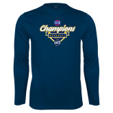Performance Navy Longsleeve Shirt-Baseball SoCon Champions 2017 - Banner w/ Plate