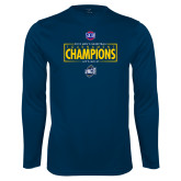 Performance Navy Longsleeve Shirt-2018 Mens Basketball Champions - Box
