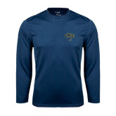 Performance Navy Longsleeve Shirt-Arched UNCG w/Spartan