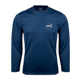 Syntrel Performance Navy Longsleeve Shirt-UNCG Shield