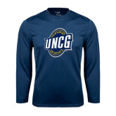 Performance Navy Longsleeve Shirt-UNCG Shield