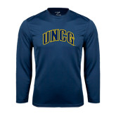 Performance Navy Longsleeve Shirt-Arched UNCG