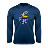 Performance Navy Longsleeve Shirt-Spartan Head