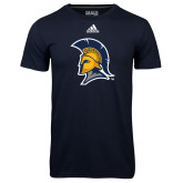 Adidas Climalite Navy Ultimate Performance Tee-Spartan Logo
