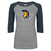 ENZA Ladies Athletic Heather/Navy Vintage Baseball Tee-Spartan Logo