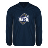 V Neck Navy Raglan Windshirt-UNCG Shield