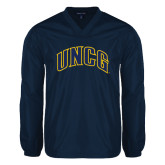 V Neck Navy Raglan Windshirt-Arched UNCG