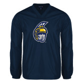 V Neck Navy Raglan Windshirt-Spartan Head