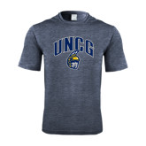 Performance Navy Heather Contender Tee-Arched UNCG w/Spartan