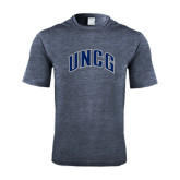 Performance Navy Heather Contender Tee-Arched UNCG
