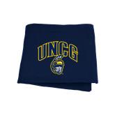 Navy Sweatshirt Blanket-Arched UNCG w/Spartan