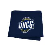 Navy Sweatshirt Blanket-UNCG Shield