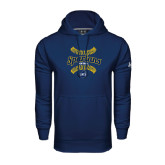 Under Armour Navy Performance Sweats Team Hoodie-Softball Ball Design