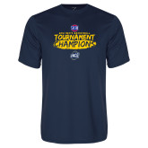 Performance Navy Tee-2018 Mens Basketball Champions - Brush
