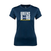 Ladies Syntrel Performance Navy Tee-Greensboro Stacked with Shield