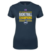 Ladies Syntrel Performance Navy Tee-2017 SoCon Regular Season Basketball Champions - Stacked