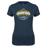 Ladies Syntrel Performance Navy Tee-2017 SoCon Regular Season Basketball Champions - Arched