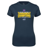 Ladies Syntrel Performance Navy Tee-2018 Mens Basketball Champions - Stacked
