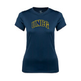 Ladies Syntrel Performance Navy Tee-Arched UNCG