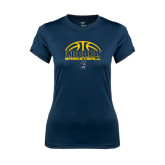Ladies Syntrel Performance Navy Tee-Arched Basketball Design