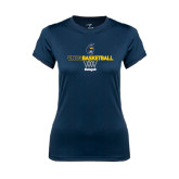 Ladies Syntrel Performance Navy Tee-Basketball Net Design