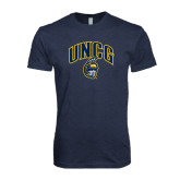 Next Level Vintage Navy Tri Blend Crew-Arched UNCG w/Spartan